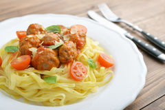 Tagliatelle pasta with meatballs Stock Photography