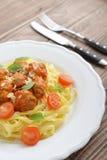 Tagliatelle pasta with meatballs Royalty Free Stock Photo