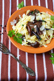 Tagliatelle pasta with mushrooms and cheese Stock Photo