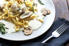 Tagliatelle Pasta with Mushrooms. Royalty Free Stock Images
