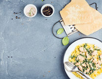 Tagliatelle pasta with salmon, spinach and creamy sauce, parmesan cheese over concrete textured background Stock Images