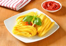 Tagliatelle pasta and tomato paste Royalty Free Stock Image