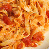 Tagliatelle Pasta with Tomato Ragu Stock Photo