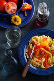 Tagliatelle peperonata Royalty Free Stock Images