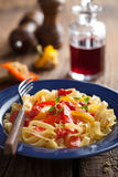 Tagliatelle peperonata Stock Photo