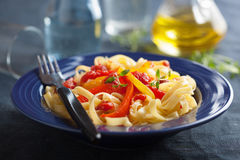 Tagliatelle peperonata Stock Photography