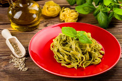 Tagliatelle with pesto Royalty Free Stock Images
