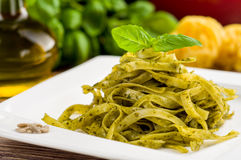 Tagliatelle with pesto Royalty Free Stock Image