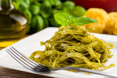 Tagliatelle with pesto Royalty Free Stock Image