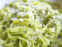 Tagliatelle  with pesto Genovese Royalty Free Stock Photos