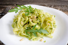 Tagliatelle with pesto Royalty Free Stock Photography