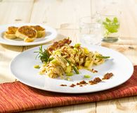 Tagliatelle with potatoes, beans and bacon Royalty Free Stock Image