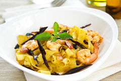 Tagliatelle with prawn and chili Royalty Free Stock Photography