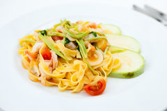 Tagliatelle with prawns Stock Image