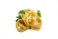 Tagliatelle raw pasta nest egg to dry Stock Photo