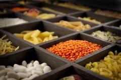 Tagliatelle, riso e legumi Immagini Stock