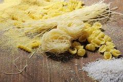 Tagliatelle, riso e polenta Fotografia Stock Libera da Diritti