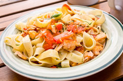 Tagliatelle with salmon Royalty Free Stock Photos