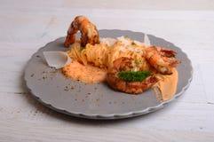 Tagliatelle Scampi parmesan Zdjęcie Royalty Free