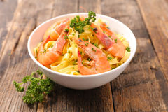 Tagliatelle with shrimp. Close up on tagliatelle with shrimp Royalty Free Stock Image