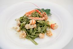 Tagliatelle with shrimps 2 Royalty Free Stock Images