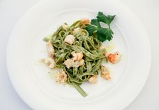 Tagliatelle with shrimps Royalty Free Stock Photo