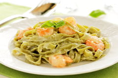 Tagliatelle with shrimps. Royalty Free Stock Photo