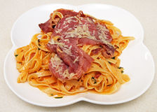 Tagliatelle with smoked meat Royalty Free Stock Images
