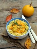 Tagliatelle, spaghetti with chicken with pumpkin s Royalty Free Stock Photos