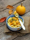 Tagliatelle, spaghetti with chicken with pumpkin s Royalty Free Stock Image