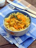 Tagliatelle, spaghetti with chicken with pumpkin s Stock Image