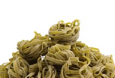 Tagliatelle with spinach on napkin, closeup Royalty Free Stock Photo