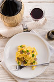 Tagliatelle with summer truffle Stock Image