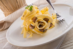 Tagliatelle with summer truffle Stock Photo