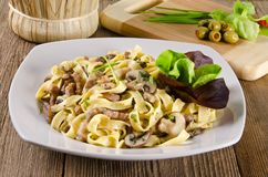 Tagliatelle with tail steak stripe Stock Photo
