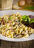 Tagliatelle with tail steak stripe Stock Photos