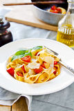 Tagliatelle with tomato Stock Photo