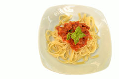 Tagliatelle with tomato sauce Royalty Free Stock Photography