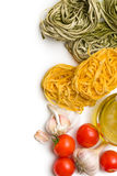 Tagliatelle with tomatoes and garlic Stock Image