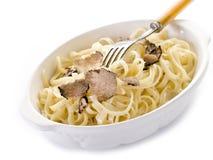 Tagliatelle with truffle and cream stock photo