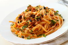 Tagliatelle with tuna Stock Photos