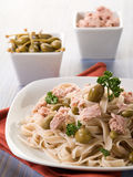 Tagliatelle with tuna and capers Royalty Free Stock Image
