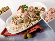 Tagliatelle with tuna and capers Stock Image