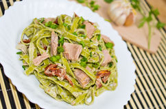 Tagliatelle with tuna and dried tomatoes Stock Photos