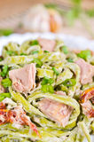 Tagliatelle with tuna and dried tomatoes Stock Photography