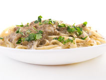 Tagliatelle with tuna fish Stock Photos