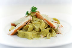 Tagliatelle with veal. Herbs and sauce Stock Photography