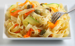 Tagliatelle and veg ribbons closeup Royalty Free Stock Images