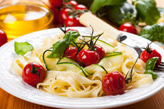 Tagliatelle with vegetables Royalty Free Stock Images