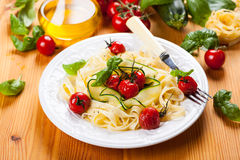 Tagliatelle with vegetables Royalty Free Stock Image